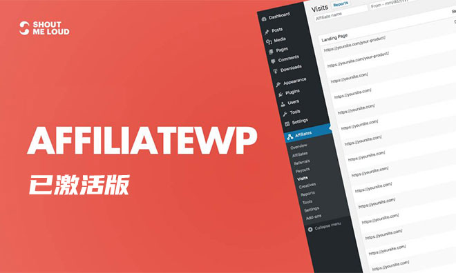 免费下载丨WordPress会员管理插件 AffiliateWP v2.6.8 已激活包含所有Pro插件